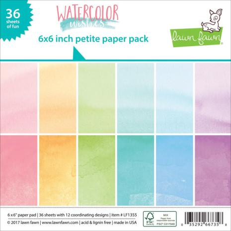 Lawn Fawn Petite Paper Pack 6X6 36/Sheets - Watercolor Wishes