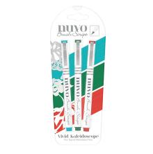 Tonic Studios Nuvo Brush Script Pens 3/Pkg – Vivid Kaleidoscope 114N