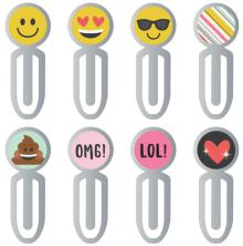 Simple Stories Carpe Diem Epoxy Top Metal Clips 8/Pkg - Emoji Love UTGÅENDE