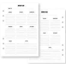 Simple Stories Carpe Diem Planner Inserts A5 36/Pkg - Recipe Menu Planning