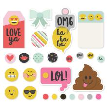 Simple Stories Metal Brads & Tags - Emoji Love
