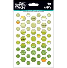 Bella Blvd Illustrated Faith Basics Mini Hexies Epoxy Stickers - Olive You UTGÅE