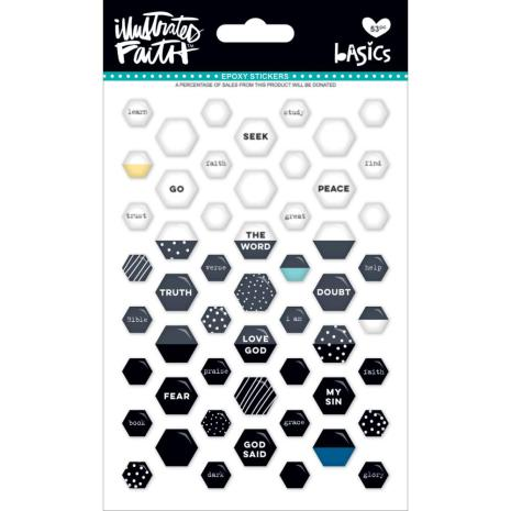 Bella Blvd Illustrated Faith Basics Mini Hexies Epoxy Stickers - Black Eyed PUea