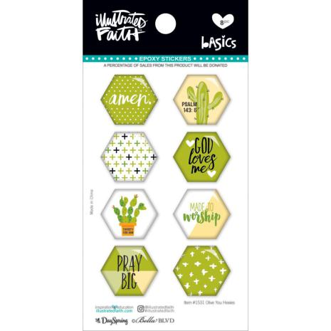 Bella Blvd Illustrated Faith Hexies Epoxy Stickers - Olive You UTGÅENDE