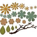 Tim Holtz Sizzix Thinlits Dies 21/Pkg - Small Tattered Florals