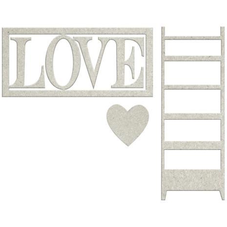 FabScraps Lavender Breeze Die-Cut Chipboard - Love W/Heart & Ladder