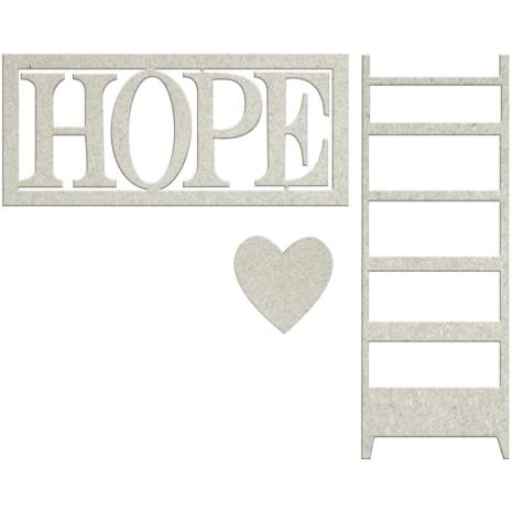 FabScraps Lavender Breeze Die-Cut Chipboard - Hope W/Heart & Ladder