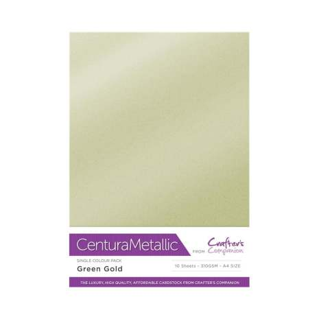 Crafters Companion Centura Metallic Card Pack A4 10/Pkg 310gr - Green Gold