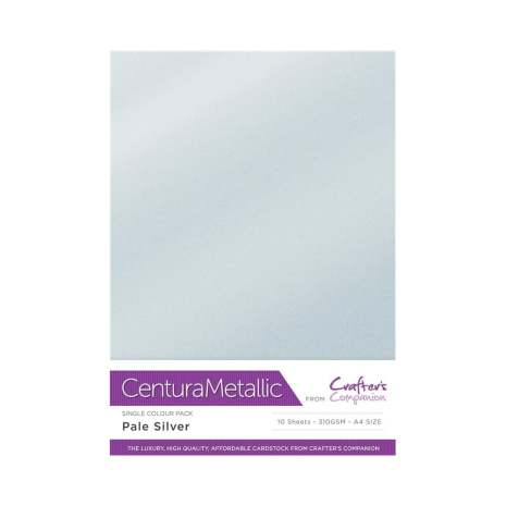 Crafters Companion Centura Metallic Card Pack A4 10/Pkg 310gr - Pale Silver
