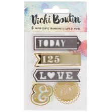 Vicki Boutin Mixed Media Paperclips 5/Pkg - Words W/Gold Foil