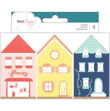 Dear Lizzy Wooden House Shaped Stamps 3/Pkg - Lovely Day
