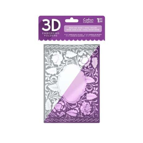 Crafters Companion 5x7 3D Embossing Folder - English Rose