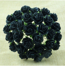 Mulberry Paper Open Roses 25mm 100/Pkg - Black
