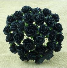 Mulberry Paper Open Roses 25mm 100/Pkg - Black UTGÅENDE