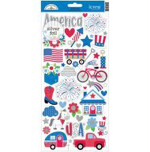 Doodlebug Yankee Doodle Cardstock Stickers 6X13 - Icons UTGÅENDE