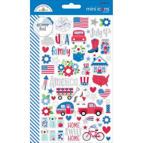 Doodlebug Yankee Doodle Stickers - Mini Icons UTGÅENDE