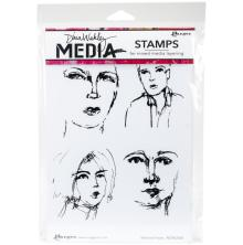 Dina Wakley Media Cling Stamps 6X9 - Sketched Faces