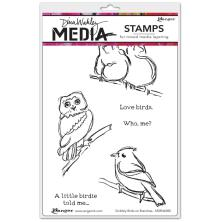 Dina Wakley Media Cling Stamps 6X9 - Scribbly Birds on Branches