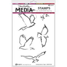 Dina Wakley Media Cling Stamps 6X9 - Scribbly Birds in Flight
