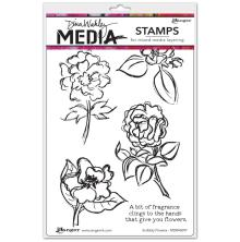 Dina Wakley Media Cling Stamps 6X9 - Scribbly Flowers