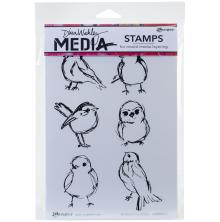 Dina Wakley Media Cling Stamps 6X9 - Scribbly Small Birdies