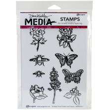 Dina Wakley Media Cling Stamps 6X9 - Scribbly Small Flowers and Insects