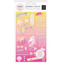 Pink Paislee World Jumble Stickers Acetate - Summer Lights Holographic Foil UTG