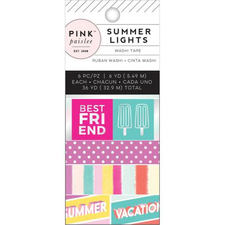 Pink Paislee Mini Washi Tape 6/Pkg - Summer Lights