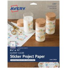 Avery Full-Sheet Sticker Project Paper 8.5X11 - Clear