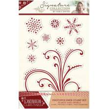 Sara Signature Collection Scandinavian Christmas A6 Clear Stamp -Flakes and Swir
