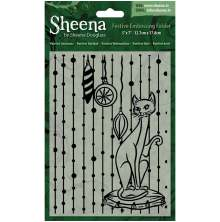 Sheena Douglass Christmas 5x 7 Embossing Folder - Purrfect Christmas UTGÅENDE