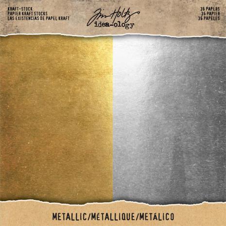 Tim Holtz Idea-0logy Kraft Stock Cardstock Pad 8X8 36/Pkg - Metallic Gold & Silver
