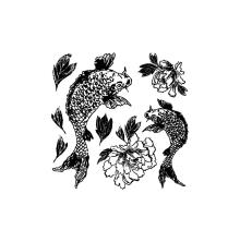 Prima Iron Orchid Designs Decor Clear Stamps 12X12 - Koi And Peony