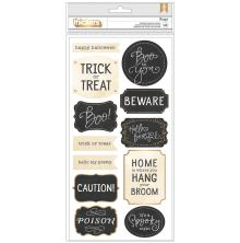 Pebbles Thickers Stickers 5.5X11 2/Pkg - Midnight Haunting Phrase