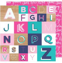 Shimelle Glitter Girl Double-Sided Cardstock 12X12 - Spell It Out
