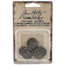 Tim Holtz Idea-Ology Metal Typed Tokens 18/Pkg - Halloween Words