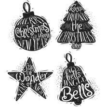 Tim Holtz Cling Stamps 7X8.5 - Carved Christmas 2