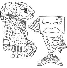 Dylusions Cling Stamps 8.5X7 - Fish Face