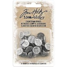Tim Holtz Idea-Ology Metal Adornments 24/Pkg - Antique Nickel Numbers 1 Through