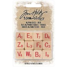 Tim Holtz Idea-Ology Wooden Alpha Dice 12/Pkg - Natural W/Red
