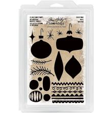 Tim Holtz Idea-Ology Cling Foam Stamps 24/Pkg - Christmas Ornaments UTGÅENDE