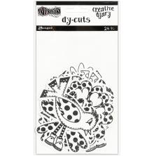 Dylusions Creative Dyary Die Cuts - Black & White Birds & Flowers