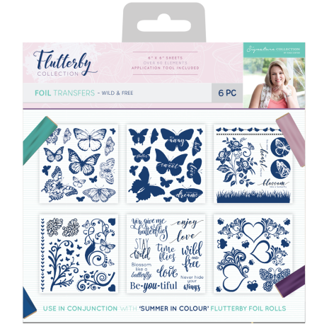 Sara Davies Flutterby 6x6 Foil Transfers - Wild & Free