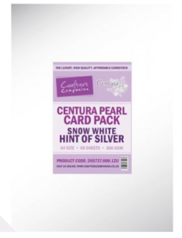 Crafters Companion Centura Pearl Printable Card Pack - Hint of Silver