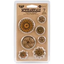 Prima Finnabair Mechanicals Metal Embellishments 7/Pkg - Rustic Gears