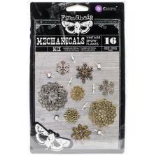 Prima Finnabair Mechanicals Metal Embellishments 16/Pkg - Vintage Snowflakes