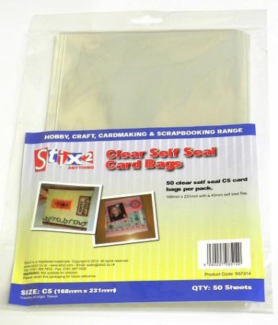Stix2 Self Seal C5 Card Bags - Clear