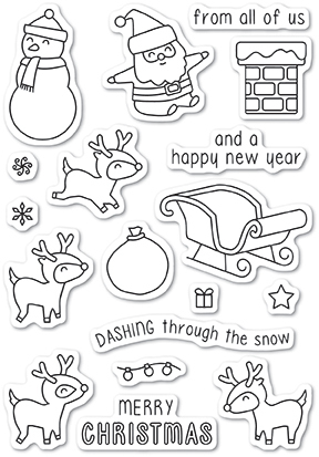 Memory Box Clear Stamp Set - Dashing with Reindeer