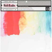 Vicki Boutin Mixed Media Foundations Paper 12X12 12/Pkg  140lb Smooth White