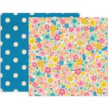 Pink Paislee Wild Child Double-Sided Cardstock 12X12 - Floral/Dots